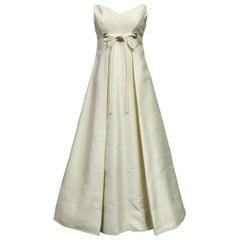 Wedding Dress in Silk Gazar and Rhinestones Circa 1965
