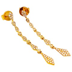 Wedding Jewelry, 14K Yellow Gold Diamond Dangle Earrings, Pave Diamonds, 42 Dia.