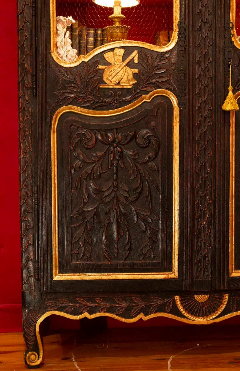 Louis XV Wedding Wardrobe Transformed into a Library in Antique Oak and Gold Leaf For Sale