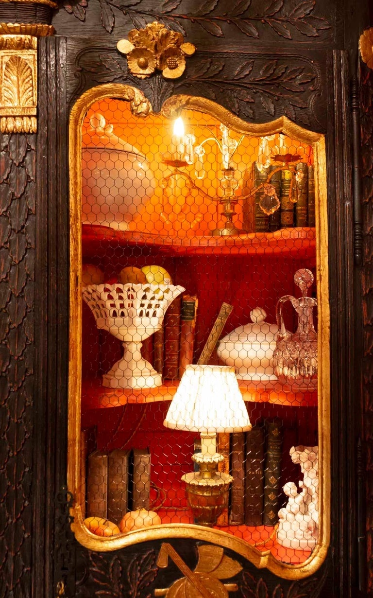 Gilt Wedding Wardrobe Transformed into a Library in Antique Oak and Gold Leaf For Sale