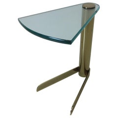 Wedge Brass / Glass Side Table from the Leon Pace Collection