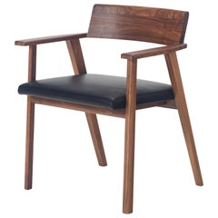 Wedge Chair in Solid Walnut and Leather by Craig Bassam