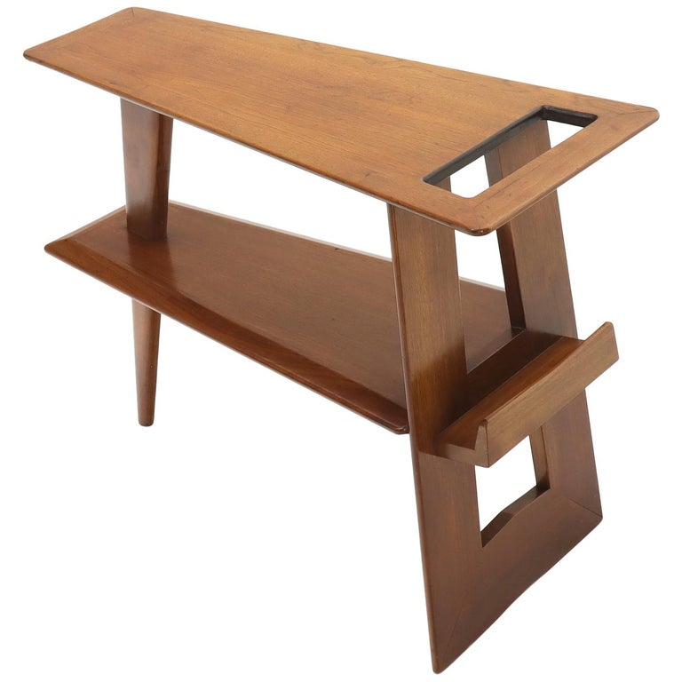 Wedge Shape Magazine Rack Stand End Side Table For Sale At 1stdibs