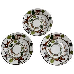 Wedgewood Coalport Hunting Scene Set of Three Bread and Butter Bone China Plates