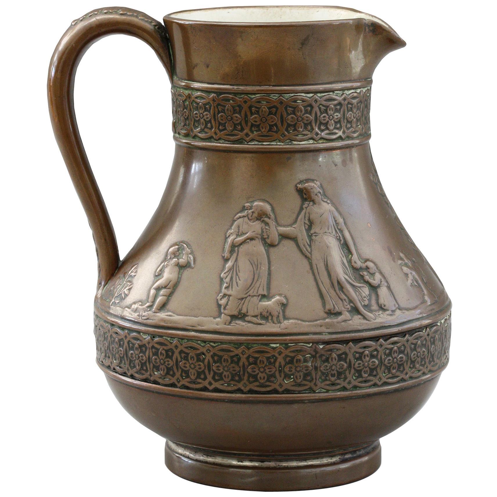 Wedgood Rare Copper Dipped Jasperware Jug with Classical Figures