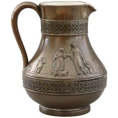 Wedgood Rare Copper Dipped Jasperware Jug with Classical Figures