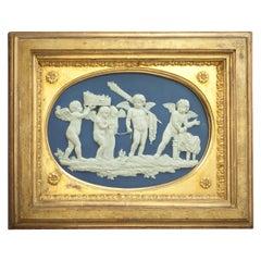 Wedgwood and Bentley Framed Blue Jasper Plaque, circa 1776