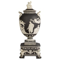 "Wedgwood Black and White Jasper ""Pegasus"" Covered Vase, 19th Century"