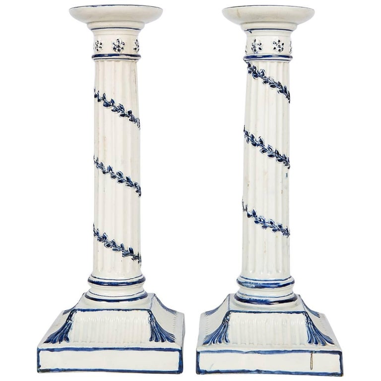 Wedgwood Blue and White Candlesticks with Neoclassical Design For Sale