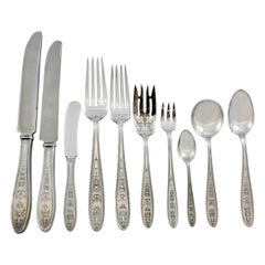Wedgwood by International Sterling Silver Flatware Set 12 Service 128 Pc Dinner