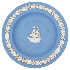 Wedgwood Collectors Society Blue Jasperware Mayflower Ship Catchall Dish