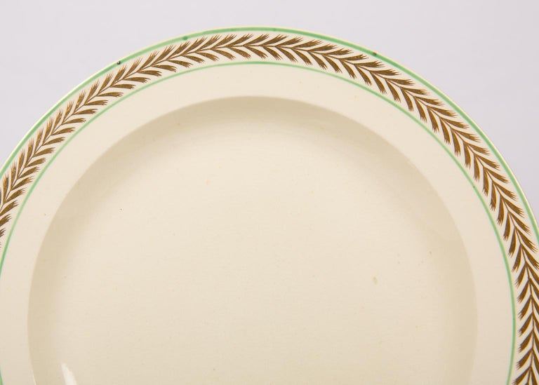 English 12 Wedgwood Creamware Dessert Dishes with Gilded Borders England circa 1820 For Sale