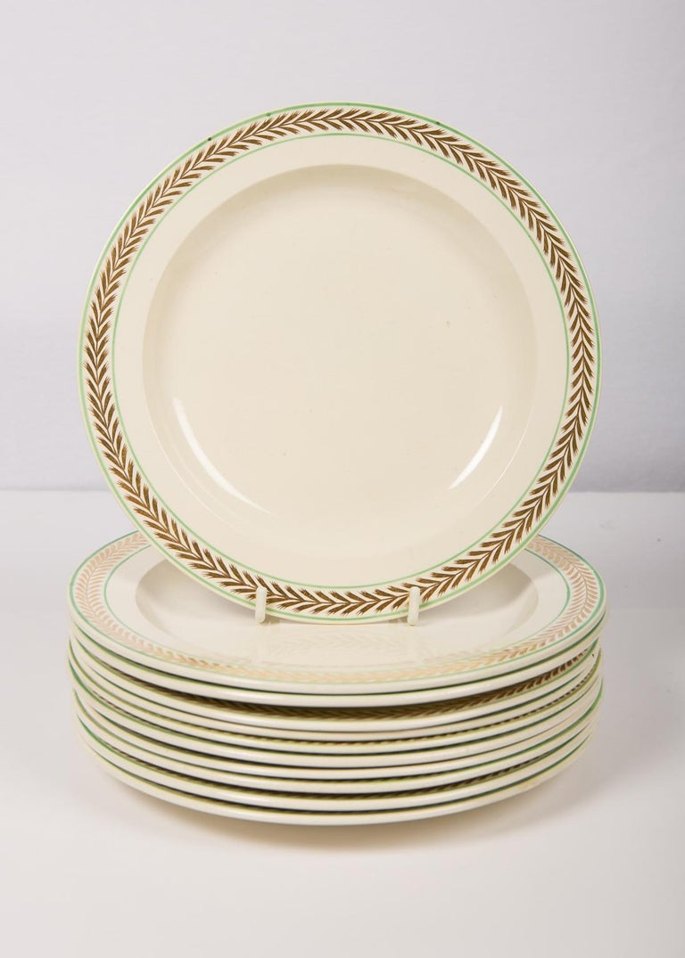 19th Century 12 Wedgwood Creamware Dessert Dishes with Gilded Borders England circa 1820 For Sale