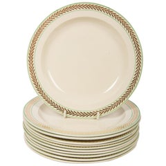 12 Wedgwood Creamware Dessert Dishes with Gilded Chevrons along the Border