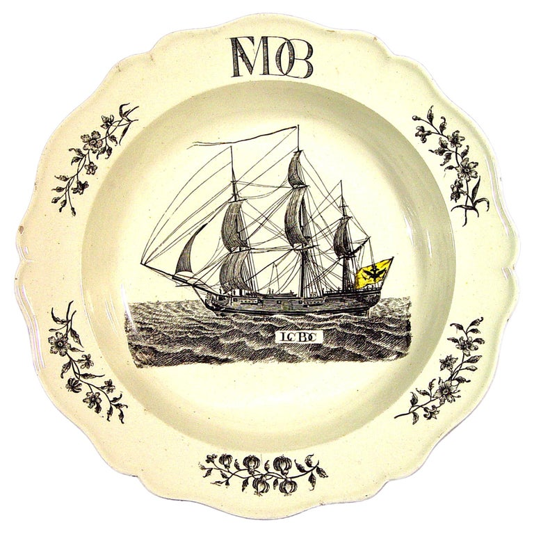 Wedgwood Creamware Soup Plate with German Ship Decoration. For Sale