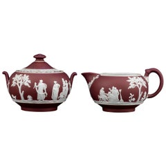 Wedgwood Crimson Jasper Dip Creamer and Sugar Bowl