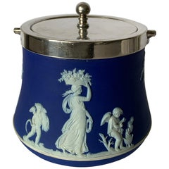 Wedgwood Dark Blue Bell Shaped Jasperware Biscuit Barrel