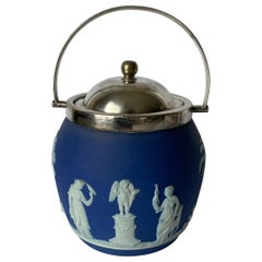 Wedgwood Dark Blue Jasperware Biscuit Barrel