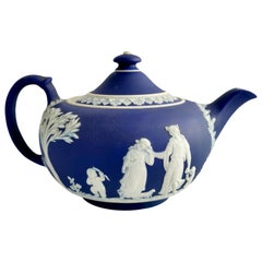Wedgwood Dark Blue Neoclassical Jasperware Porcelain Teapot, 1 Pint, 1921
