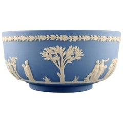 Wedgwood, England, Large Bowl in Light Blue Stoneware with Classicist Scenes