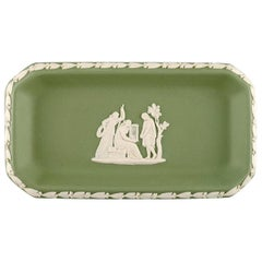 Wedgwood, England, Small Dish in Green Stoneware with Classicist Scenes
