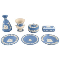 Wedgwood, England, Three Bowls/Dishes, Two Vases and Two Lidded Jars