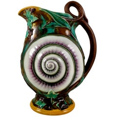 Wedgwood English Majolica Aesthetic Taste Snail Shell and Ivy Pitcher circa 1870