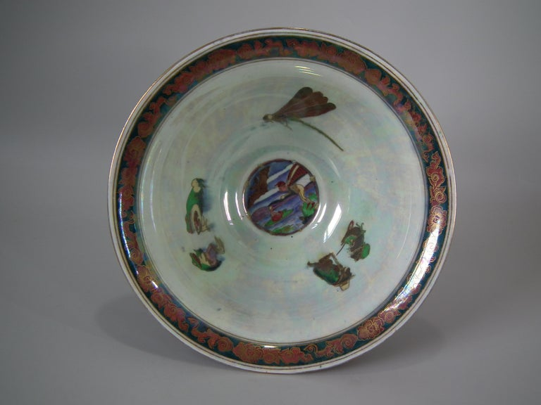 Wedgwood fairyland lustre antique centre bowl, decorated with Firbolgs pattern to exterior, and Thumbelina pattern to interior. Dragon Bead border to rim and foot rim. Maker's marks including printed Portland Vase mark and 'WEGDWOOD ENGLAND', and