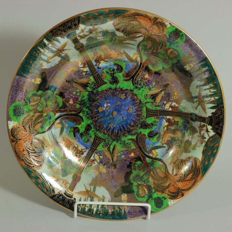 Art Deco Wedgwood Fairyland Lustre Garden of Paradise Lily Tray For Sale