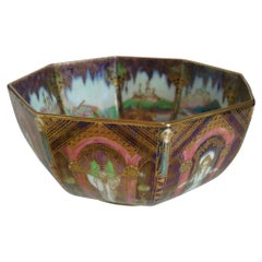 Wedgwood Fairyland Lustre Octagonal Bowl, Angel or Geisha Design, circa 1925