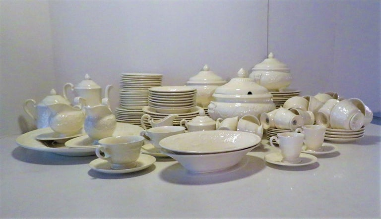 A very popular design from 1927 - 1986 for WedgwoodofEutria & Barlaston, the Patrician Pattern of fine bone china dinnerware was produced in a mold of embossed flowers and scrolls along the edge with a variety of hand painted decorations. The most