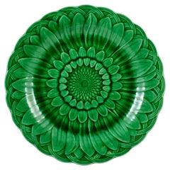 Wedgwood Green Glazed Majolica Sunflower & Basketweave Plate, Date Code 1877