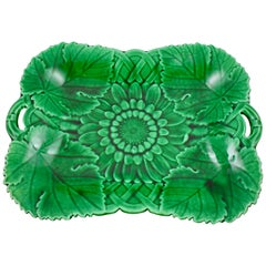 Wedgwood Green Glazed Majolica Sunflower Handled Serving Platter, dated 1874