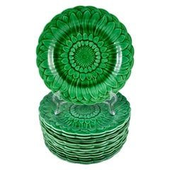 Wedgwood Green Glazed Majolica Sunflower & Basketweave Plate, Date Code 1877