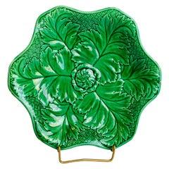 Six Lobbed Green Wedgwood Majolica Leaf Plate