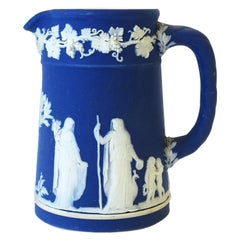 Wedgwood Jasperware Antique English Blue and White Pitcher Neoclassical