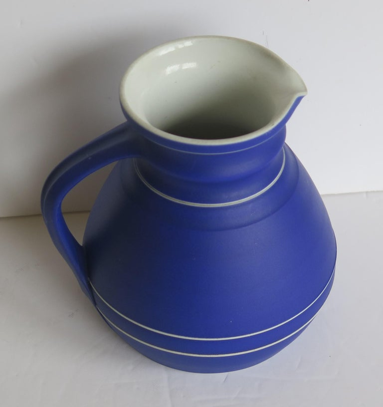 Victorian Wedgwood Jasperware Dark Blue Water Jug or Pitcher Fully Marked, 1850 For Sale