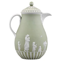Wedgwood Lady Templeton Green and White Jasper-Dip Coffee Pot