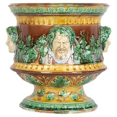 Wedgwood Large and Impressive Majolica Jardiniere with Masks and Trailing Vines