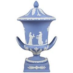 Wedgwood Lidded Urn Vase Pale Blue Jasperware, England, circa 1910