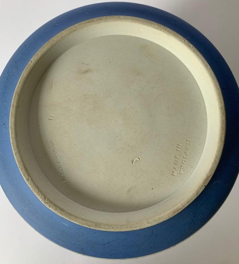 Wedgwood Light Blue Bell Shape Jasperware Biscuit Barrel For Sale 4
