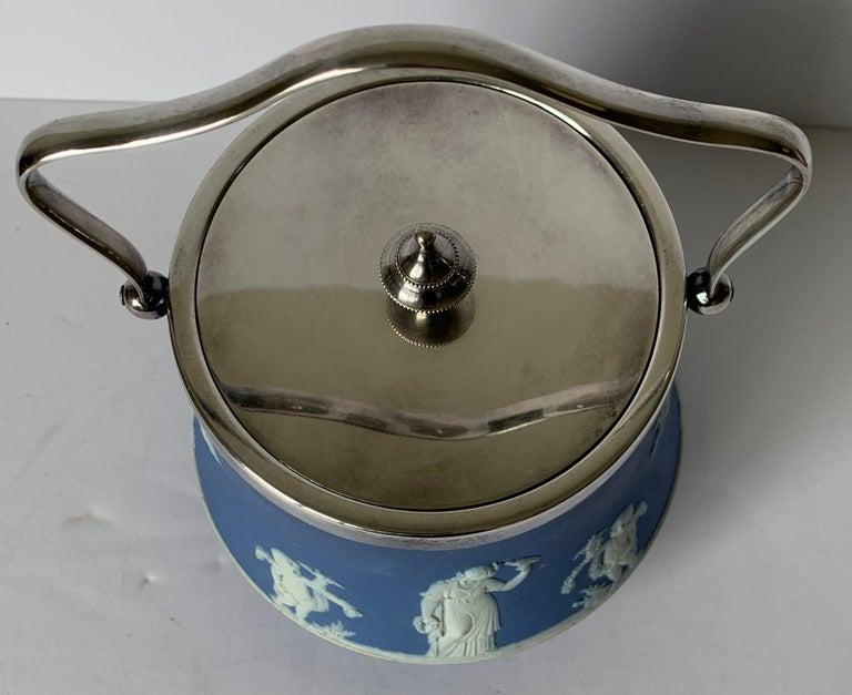 Neoclassical Wedgwood Light Blue Bell Shape Jasperware Biscuit Barrel For Sale