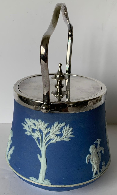 English Wedgwood Light Blue Bell Shape Jasperware Biscuit Barrel For Sale