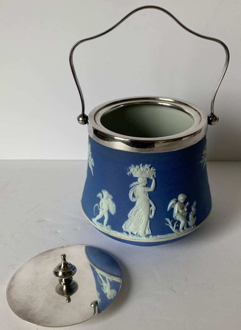 Mid-20th Century Wedgwood Light Blue Bell Shape Jasperware Biscuit Barrel For Sale