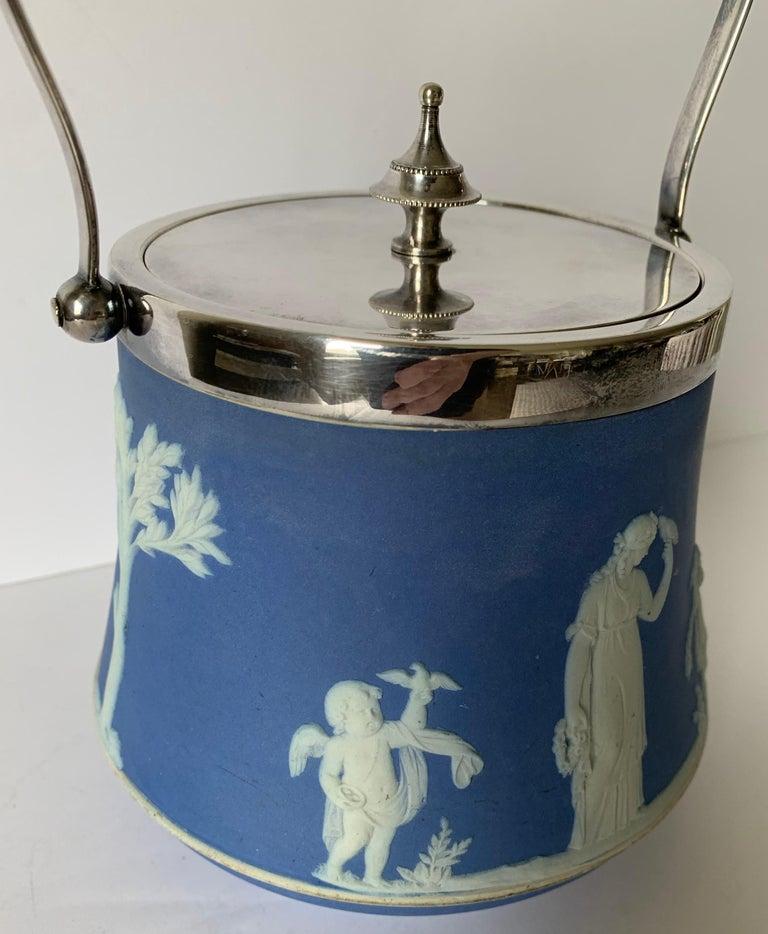 Wedgwood Light Blue Bell Shape Jasperware Biscuit Barrel For Sale 1