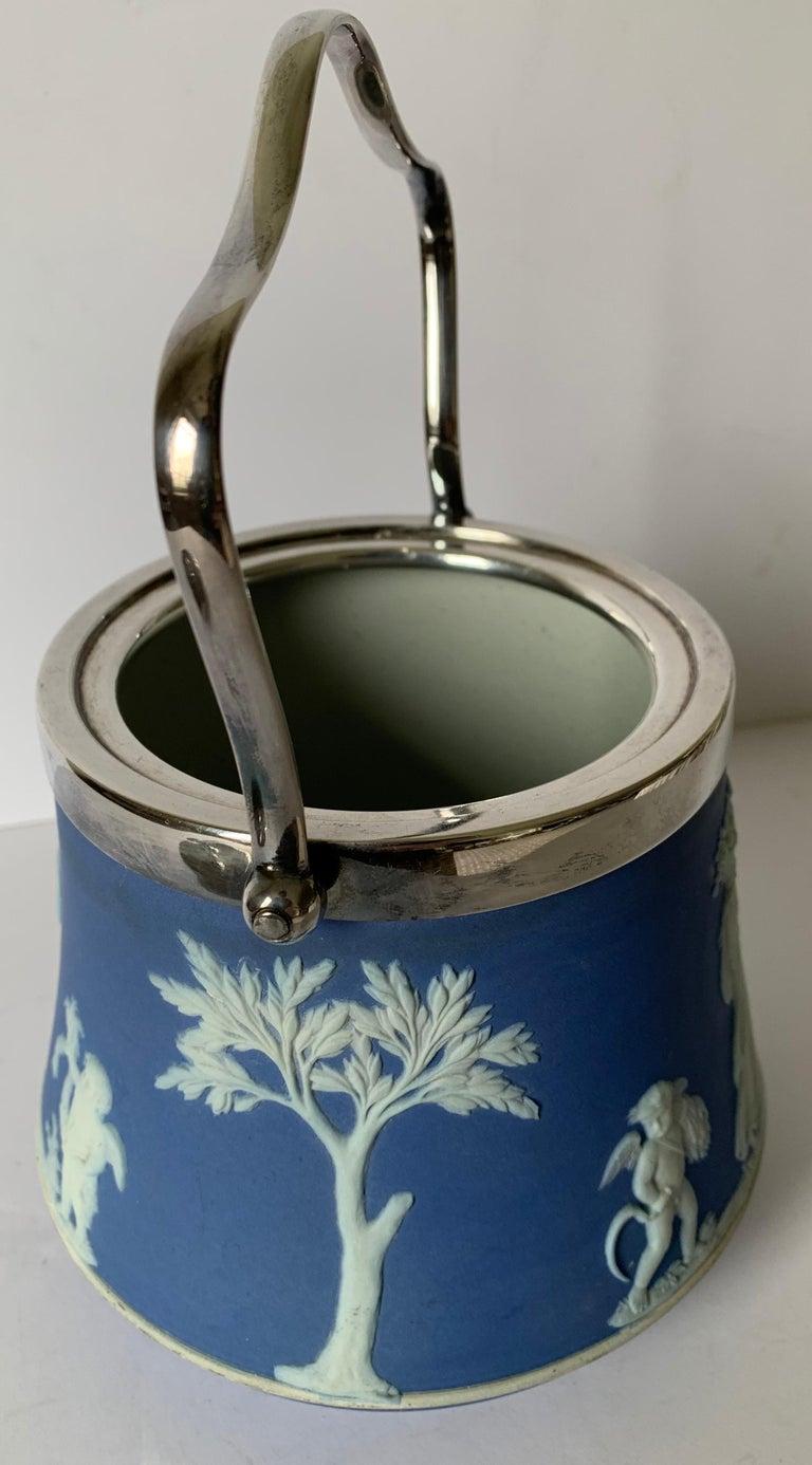Wedgwood Light Blue Bell Shape Jasperware Biscuit Barrel For Sale 2