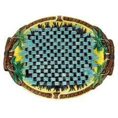 Wedgwood Majolica Bread Tray with Turquoise and Green, Yellow Ground, Dated 1878