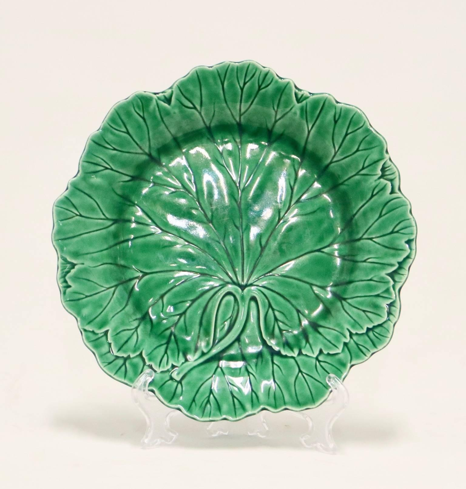 & Wedgwood Majolica Cabbage Leaf Plates at 1stdibs