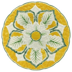 Wedgwood Majolica Cauliflower Pattern 9-in Plate on Yellow Ground, English, 1923