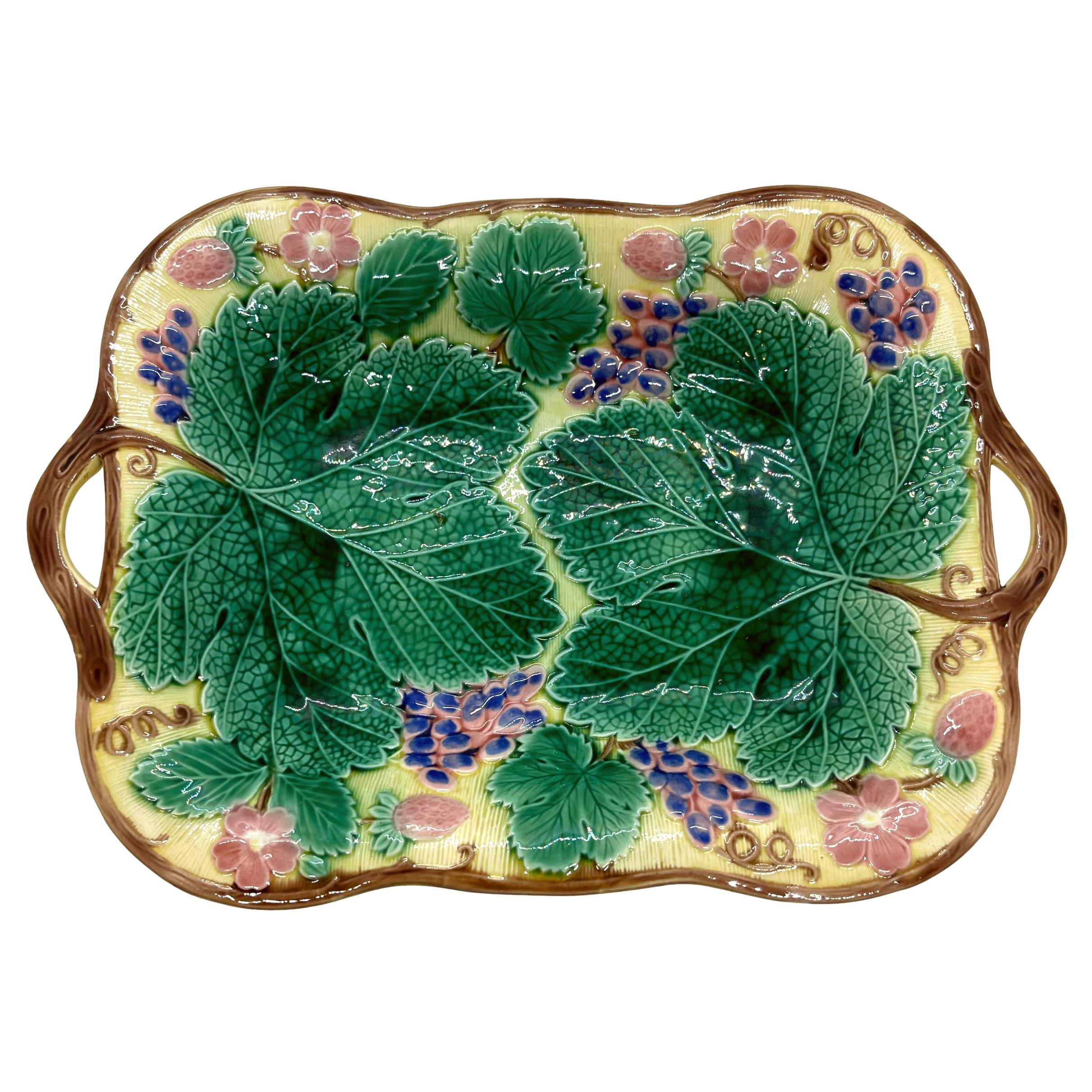 Wedgwood Majolica Grape and Strawberry Bread Tray on Yellow Ground